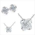 Gorgeous sterling Silver Earrings & Necklace 925 stamp Free Jewellery Bag