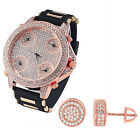 5 Timezone Custom Watch Rose Gold Finish Free Earrings Rose Gold Tone Iced Out
