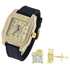 Roman Numeral Dial Watch Hip Hop Bling Gold Plate Square Earrings Studs 6mm New