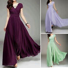 Womens Long Chiffon Maxi Dress Formal Prom Evening Party Bridesmaid Wedding Gown