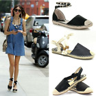 LADIES WOMENS ANKLE STRAP FLAT ANKLE SUMMER ESPADRILLES STUDed SANDALS SHOES