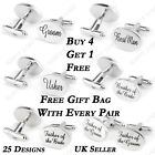 SILVER OVAL Mens Wedding Cufflinks Cuff Links Best Man Usher Groom Page Boy Gift