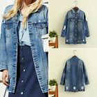 Fashion Women's Ladies Hole patch denim Ripped jeans Blue Tacket Coat Outwear