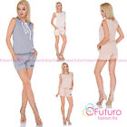 Womens Sleeveless  Jumpsuit With Pockets and V Neck Lace Up Oversize FT3071