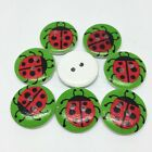 "LADYBUG 2-hole White Wood Buttons 3/4"" (20mm) Craft Scrapbook (1015) Choose Qty"