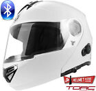 TORC T27B BLUETOOTH GLOSSY WHITE SOLID MODULAR MOTORCYCLE HELMET DOT XS - XL