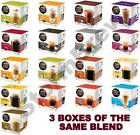 3 BOXES OF NESCAFE DOLCE GUSTO COFFEE, CHOC, LATTE, CAPPUCCINO,TEA,CAPSULES PODS