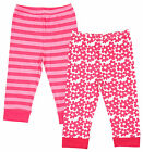 Girls Baby Pack of 2 Floral & Stripe Pink Leggings 6-12 Months SALE