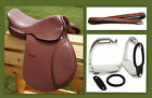 "12"" 13"" 15"" Tan Close Contact EVENT Show Saddle +Leathers 48"" +Stirrup Irons 3pc"