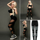 Women Yoga Sports Leggings Black Splice Mesh Running Fitness Stretch Trousers