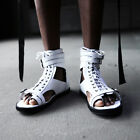 ByTheR Leather Solid White Gladiator Buckle Lace-up Back Zipper Slip Sandals