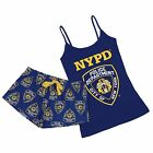 Navy Blue Ladies Top & Shorts Pyjama Set Police Department NYPD Love To Lounge