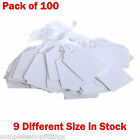100 x Quality White Strung Price Ticket Tags Labels Retail Clothing Gift Sticker