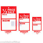 HALF PRICE '1/2 PRICE SALE WAS NOW' PRICING TAGS HANGER LABEL CARDS FREE P&P