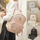 Fashion Women Backpack For Teens Girls Preppy Style Cat School Bag PU Leather
