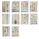 DIY 10 Style Waterproof Metallic Temporary Tattoo Stickers Stereo Gold Foil