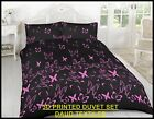 BEAUTIFUL 3D PRINTED BLACK PINK BUTTERFLY DUVET SET PILLOW  QUILT COVER ALL SIZE