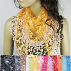 Lace Tassel Sheer Floral Knit Triangle Veil Church Mantilla Scarf Shawl Wrap HOT