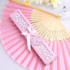 Exquisite Bamboo Silk Fold Hand Fan Elegant Box Party Wedding Gifts