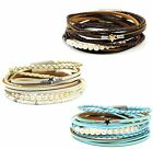 """Star Real Pearls and Tiny Beads Multi Strand Wrap Leather Bracelet up to 7.5"""""""