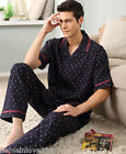 Dark Blue Cotton 2PCs Male's Casual Clothes Sleepwear/ Pajama Sets L/XL/2XL/3XL