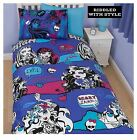 Purple Black Skulls Monster High Beastie Double Bedding Duvet Set Quilt Cover