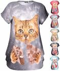 Womens Plus Size Glitter Cat Feline Animal Printed Cap Sleeve Ladies Long Top