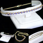 "ALL SIZES 9-14"" TANZANITE Austrian CRYSTAL 10"" 14K GOLD GL Foot CHAIN Anklet"