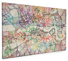 Watercolour Map of London Box Canvas and Poster Print (419)