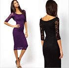 Ladies Women One-piece Dress three quarter sleeve Lace Slim Fit Casual Girl