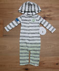 Burt's Bees Baby Boy Hooded Dip Dye Coverall ~ White, Gray &