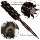 Natural Boar Bristle Round Hair Rollers Brush Styling Brushes Wood Combs Curlers