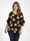 Lovedrobe GB Womens Plus Size Floral Tie Back Blouse Black Coral