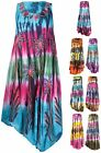 Womens Plus Size Flower Printed Sleeveless Flared Beach Lace Ladies Long Dress