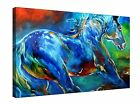 "Wild Stallion Horse Blue Abstract 30x20"" Canvas Wall Art Picture Print Framed"