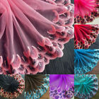 ribbon tulle - Peacock Feather Embroidery Lace Trims Ribbon Tulle Fabric Sewing Wedding Dress