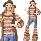 70s Hippie Costume Colourful Brown 1970s Womens Groovy Hippy Fancy Dress Smiffys