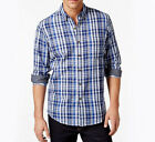 NEW CLUB ROOM LONG SLEEVE WOODBINE BLUE PLAID DOUBLE LAYER BUTTON FRONT SHIRT L