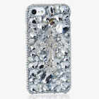 For iPhone Sony LG Silver Cross Diamond Rhinestone Phone Case for Samsung S8 S7