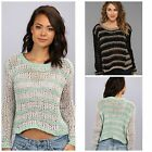 FREE PEOPLE S TO L PROVENCE STRIPE SWEATER Black or Cloud COMBO TOP,New