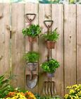Primitive Country Farmhouse Garden Tool Planters Pitchfork Shovel Wall Fence