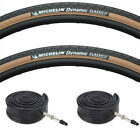 (Pair of) Michelin Dynamic Amber / Tan Wall Road Bike Tyres & Inner Tubes 700x25