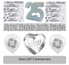 25th Silver Wedding Anniversary Party Tableware and Balloons