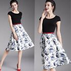 Women Casual Stylish O-Neck Party Evening Swing Patchwork Dress+Belt  035c