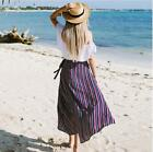 New Women irregular Cotton Stretch High Waist Maxi Dress Pleated Long Skirt hot