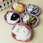 Simulation + Sound Plush Dolls Sleeping Cats Toys Kids Birthday Gift w/ Nest Mat