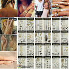 Gold Silver Metallic Temporary Tattoos Sticker Waterproof Pattern Body Art