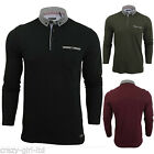 Mens Brave Soul Long Sleeved Polo Shirt Button Collar T-Shirt Size S M L XL XXL