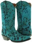 Womens Turquoise Spotted Leather Design  Western Cheetah Cowboy Snip Toe Boots