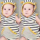 2PCS Toddler Kids Baby Boy Girl Hooded T-shirt Tops+Pants Summer Outfits Clothes